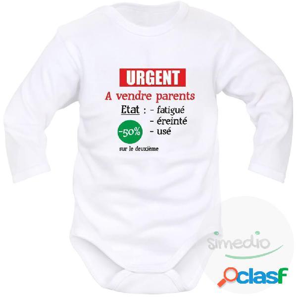 Body bébé humoristique: urgent ! a vendre parents - blanc longues 6-9 mois