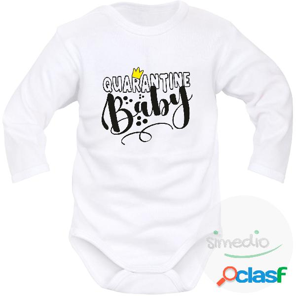 Body bébé humour: quarantine baby (bébé de quarantaine) - blanc longues 4-6 mois