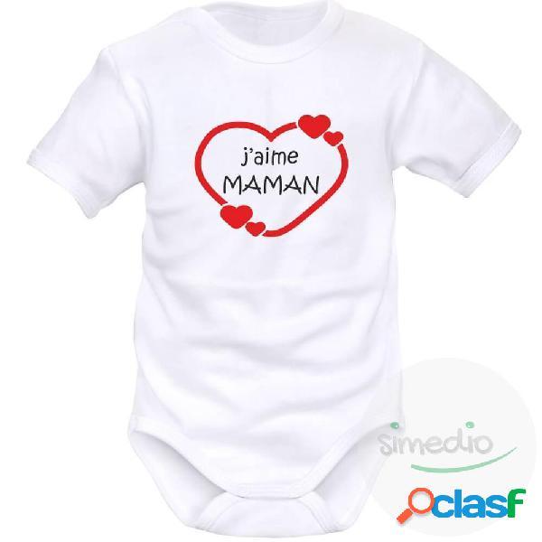 Body bébé avec impression: j'aime maman (9 couleurs au choix) - blanc courtes