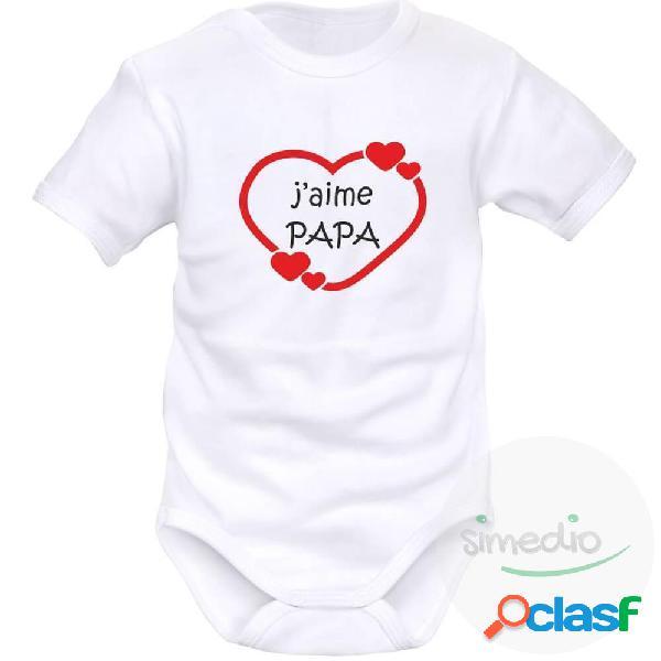 Body bébé avec impression: j'aime papa (9 couleurs au choix) - blanc courtes