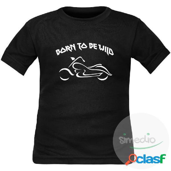 T-shirt enfant rock: born to be wild - noir 4 ans courtes