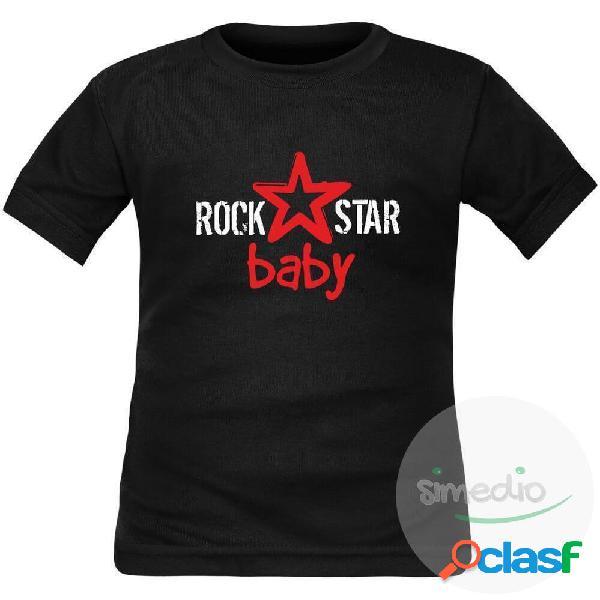 T-shirt enfant original: rock star baby - blanc 8 ans courtes