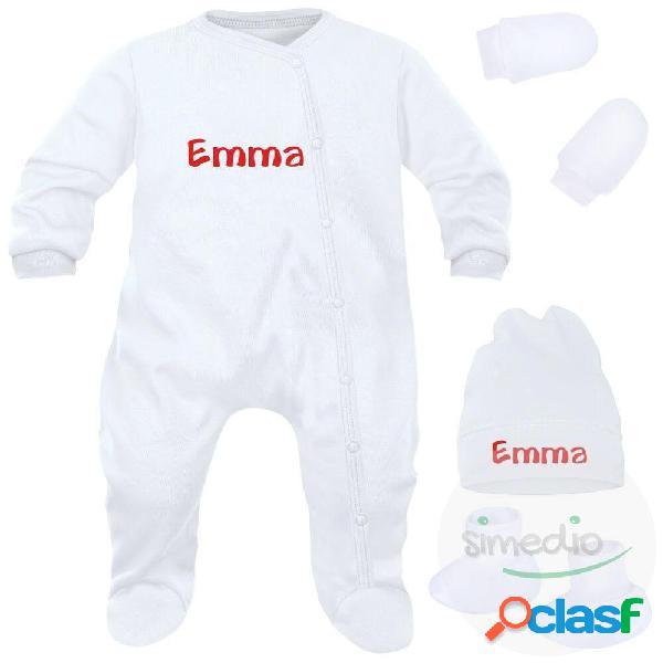Ensemble naissance personnalisé pour fille ou garçon 4 pièces + sachet gratuit - cadeaux de naissance originaux - blanc (moufles et chaussons blancs)