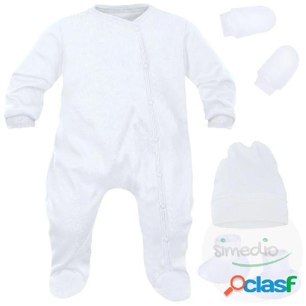 Ensemble naissance pour bébé fille et garçon 4 pièces + sachet gratuit - rose (moufles et chaussons blancs) 0-1 mois
