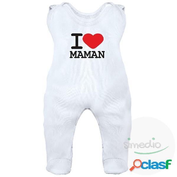 Grenouillère bébé avec inscription: i love maman - blanc 3-6 mois