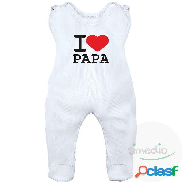 Grenouillère bébé avec inscription: i love papa - blanc 3-6 mois