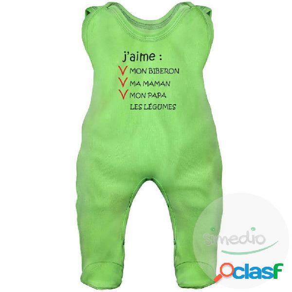 Grenouillère bébé humour: j'aime mon biberon (7 couleurs) - vert 0-1 mois