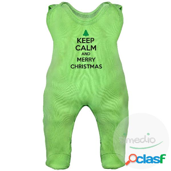 Grenouillère bébé: keep calm and merry christmas - vert 6-12 mois