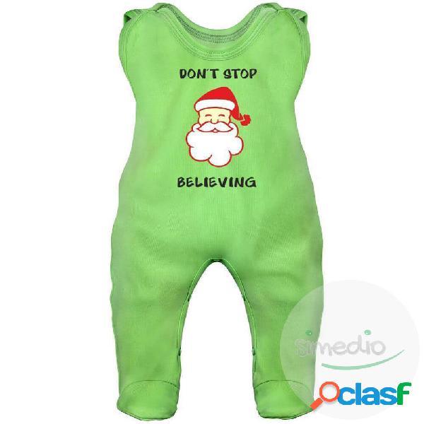 Grenouillère bébé noël: don't stop believing (7 couleurs) - vert 2-3 mois