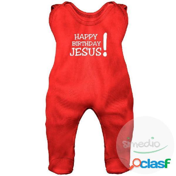 Grenouillère bébé noël: happy birthday jesus! (7 couleurs) - rouge 6-12 mois