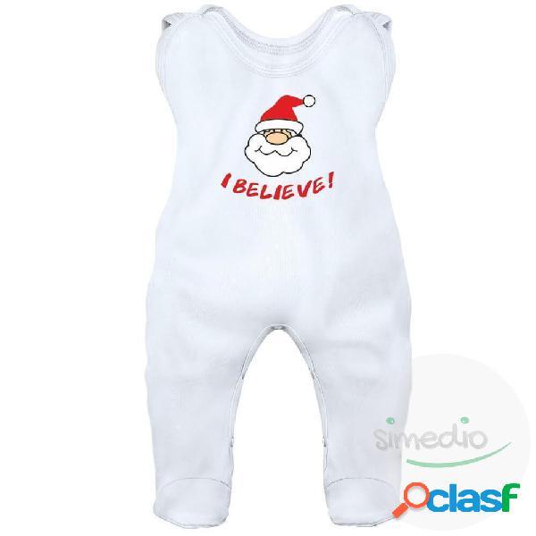 Grenouillère bébé noël: i believe (7 couleurs) - blanc 0-1 mois
