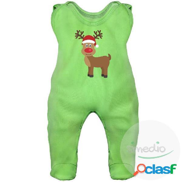 Grenouillère bébé noël: renne (7 couleurs) - vert 3-6 mois