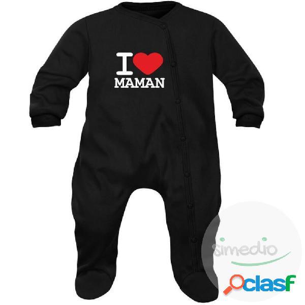 Pyjama bébé famille: i love maman - noir 3-6 mois