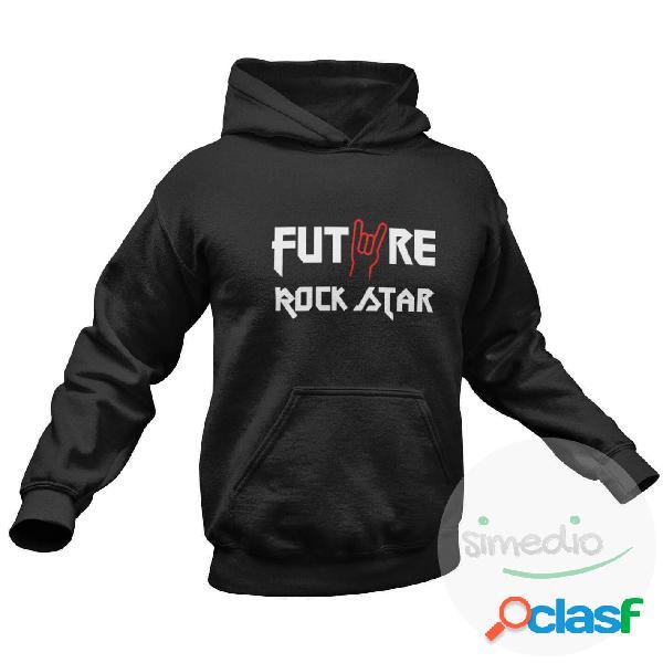 Sweat à capuche enfant rock - future rock star - noir 12 ans