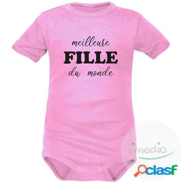 Body bébé original: meilleure fille du monde - rose courtes 12-18 mois
