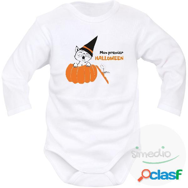 Body bébé original: mon premier halloween - blanc longues 2-3 mois