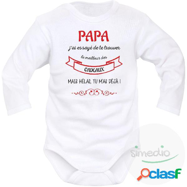 Body bébé original: papa j'ai essayé de te trouver le meilleur des cadeaux - blanc longues 12-18 mois
