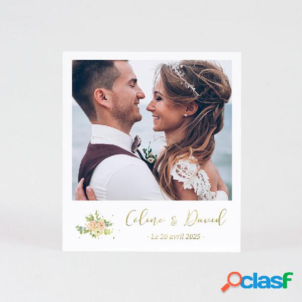 Carte remerciement mariage feuillage fleurs pastel photo et dorure
