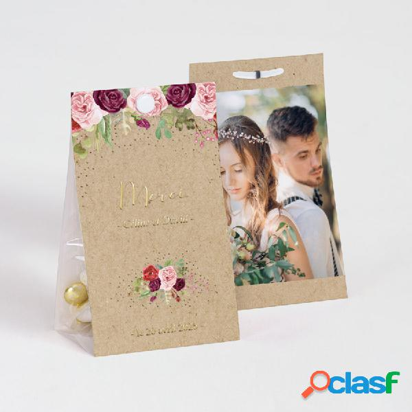 Ballotin à dragée mariage boho roses aquarelles et dorure