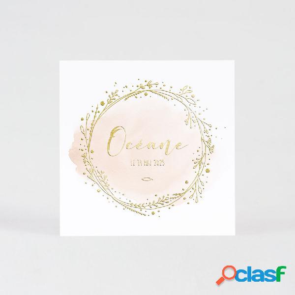 Carte invitation communion aquarelle rose et couronne dorée