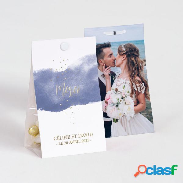 Ballotin à dragées mariage effet aquarelle bleue et dorure