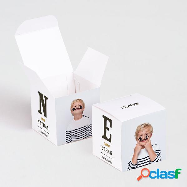 Boîte à dragées communion cube initiales et photos jumeaux