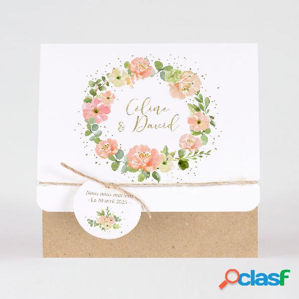 Faire part mariage feuillage fleurs pastel et dorure