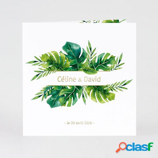 Faire part mariage feuilles tropicales et dorure