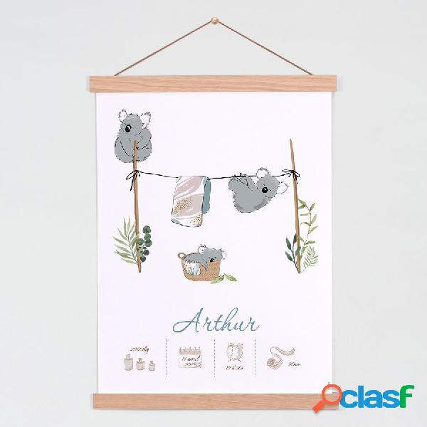 Affiche chambre bébé famille koalas