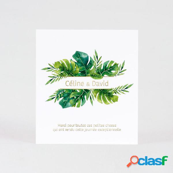 Carte de remerciement mariage feuilles tropicales et dorure