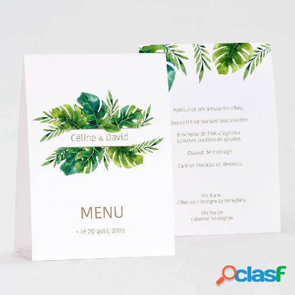 Menu mariage chevalet feuilles tropicales