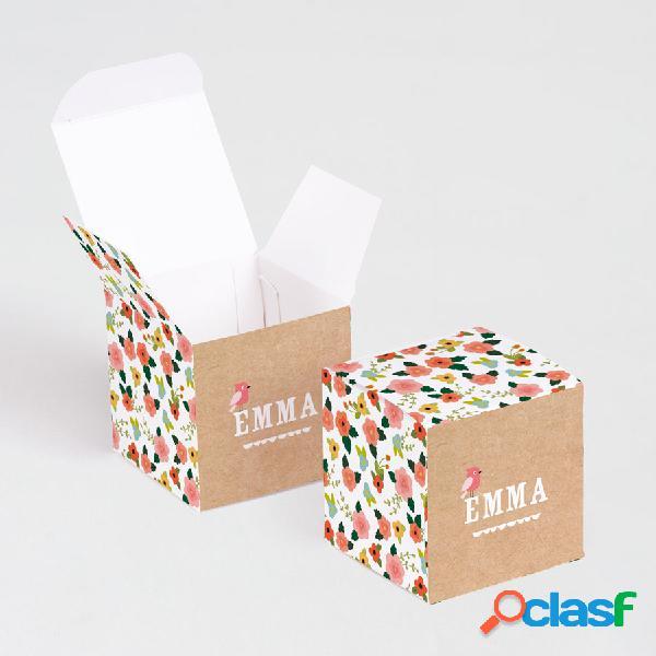 Boîte à dragées naissance cube motif liberty