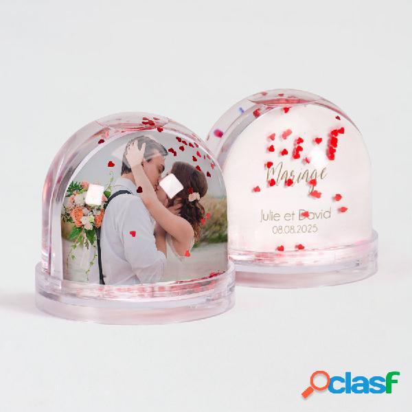 Boule à neige coeur remerciement mariage photo et texte