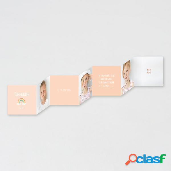 Carte remerciement communion motif arc-en-ciel et trio de photos