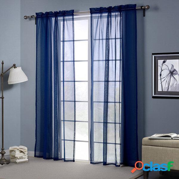 Bleu foncé europe style poinçonnage rideau transparent balcon chambre salon fenêtre écran décor