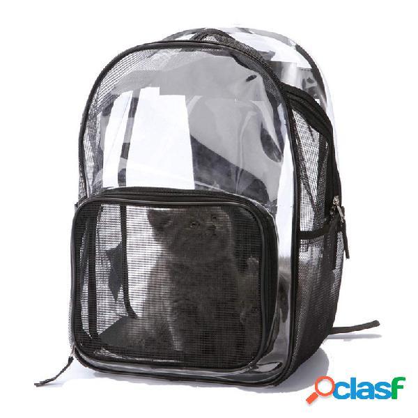 Transparent pet carrier bag mode porter chat chat chiot confort voyage en plein air épaule à dos