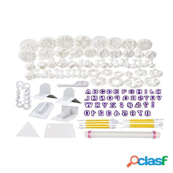 114 pièces fondant cutter cookie gâteau piston en plastique moule artisanat bricolage 3d sugarcraft cuisine accessoires