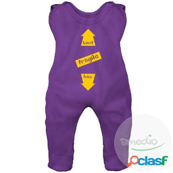 Grenouillère bébé humour: FRAGILE (7 couleurs) - Violet 0-1 mois