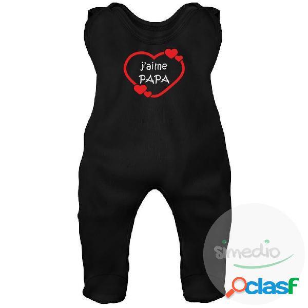 Grenouillère bébé imprimée: j'aime papa (7 couleurs) - noir 0-1 mois