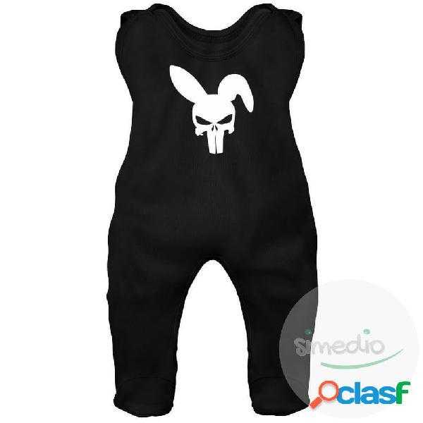 Grenouillère bébé originale: CRANE lapin - Noir 6-12 mois