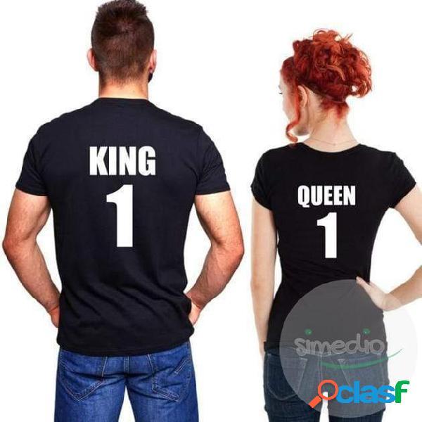 Lot de 2 T-shirts pour amoureux: KING & QUEEN
