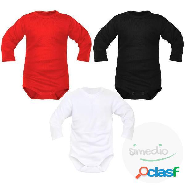 Lot de 3 bodies bébé unisexes manches longues (3 couleurs) - 0-1 mois