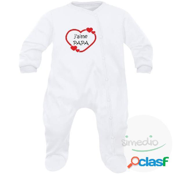Pyjama bébé famille: j'aime PAPA (7 couleurs au choix) - Blanc 6-12 mois