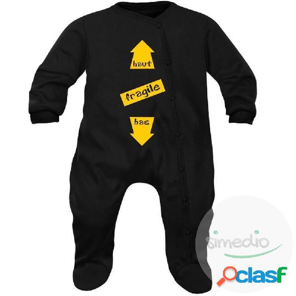 Pyjama bébé original: FRAGILE (7 couleurs au choix) - Noir 0-1 mois
