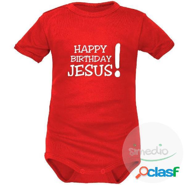 Body bébé Noël: HAPPY BIRTHDAY JESUS! (m. courtes ou longues) - Rouge Courtes