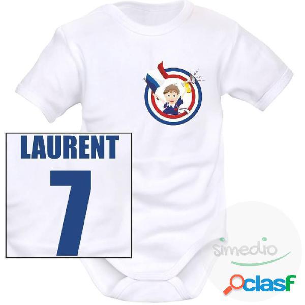 Body bébé personnalisé de sport: supporteur de france - blanc courtes