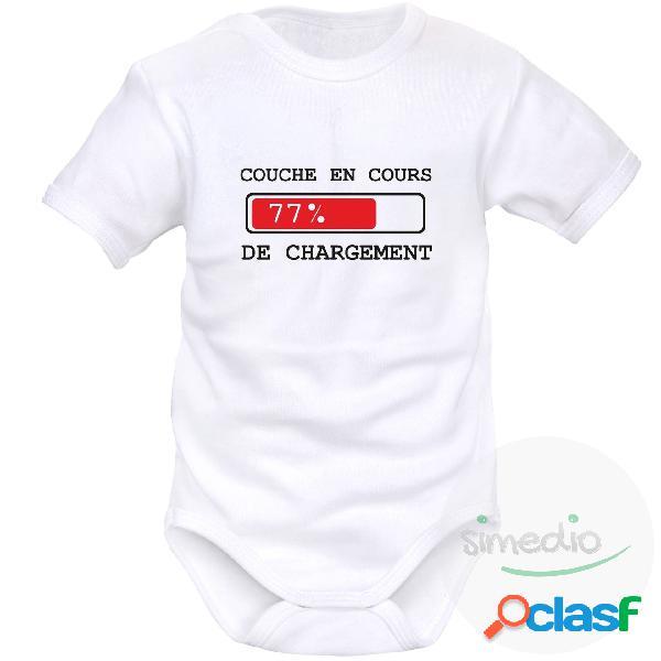Body bébé rigolo: couche en cours de chargement - blanc courtes 0-1 mois