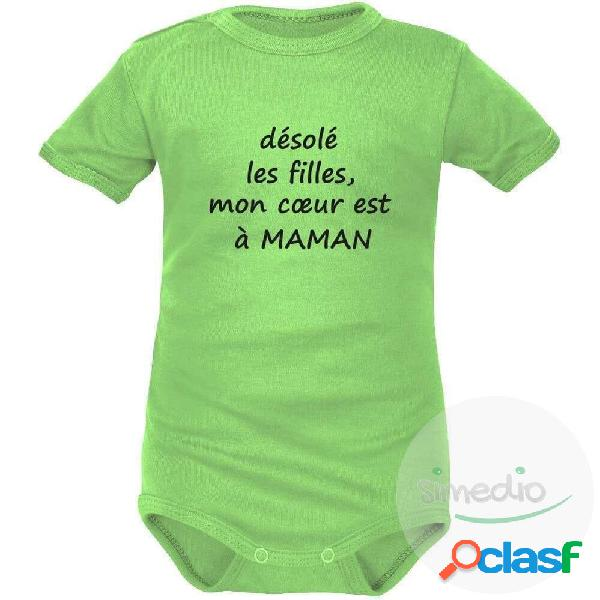 Body bébé humour: mon coeur est à maman - vert courtes 6-9 mois