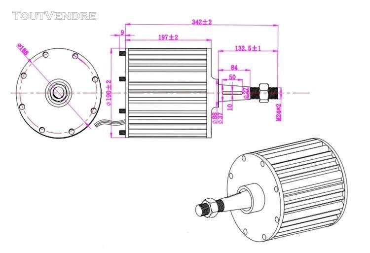 Generateur eolienne vent 48v.. 2kw.. 450rpm