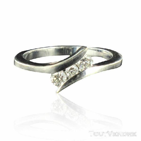 Bague diamants or blanc triolgie or blanc moderne bijoux occ